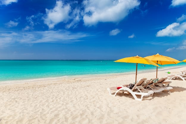 Vivid blues and turquoise with white sands, Grace Bay Beach, Turks & Caicos