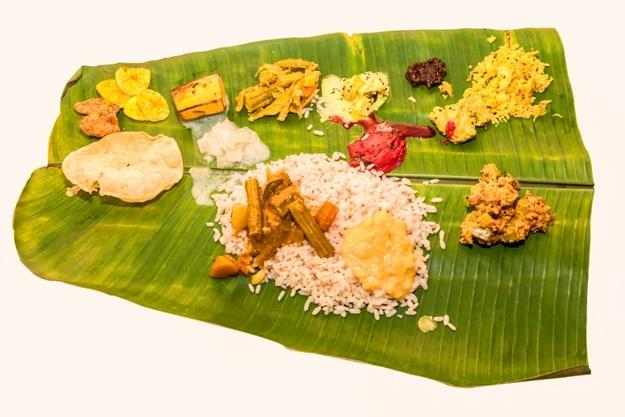 Vishu Sadhya served on a banana leaf