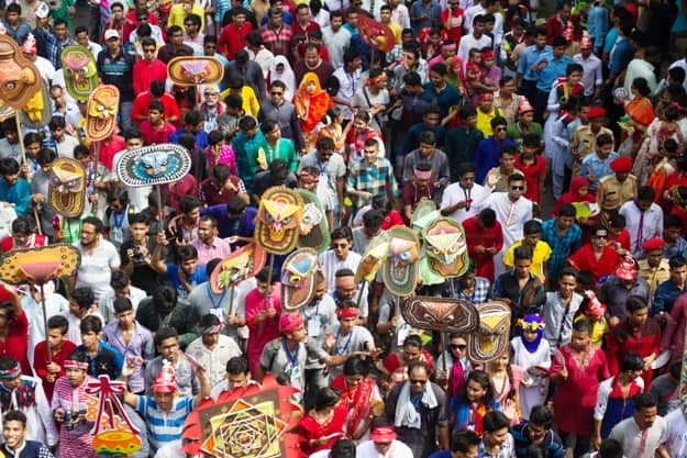 Mongal Shobhajatra procession with colourful festoons and banners