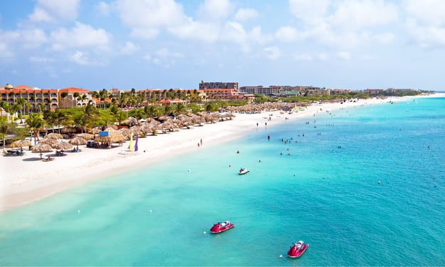 Aerial view from Eagle beach on Aruba in the Caribbean