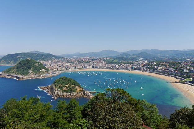 La Concha Beach from Igeldo Mount. Donostia-San Sebastian. Basque, Spain - Tr...