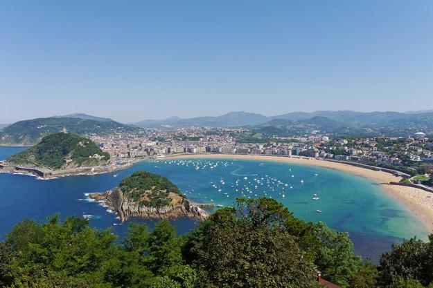 La Concha Beach from Igeldo Mount. Donostia-San Sebastian. Basque, Spain