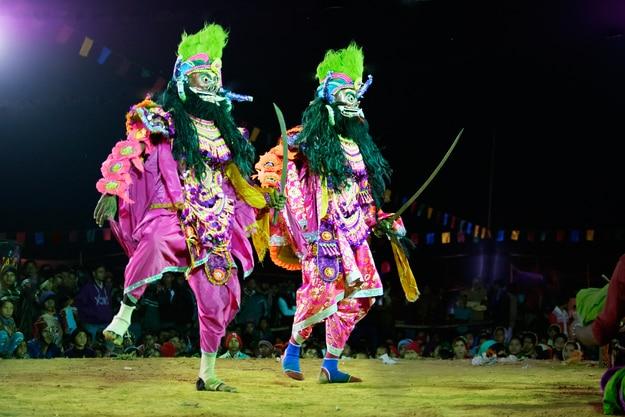 Dancers performing at Chhau Dance festival
