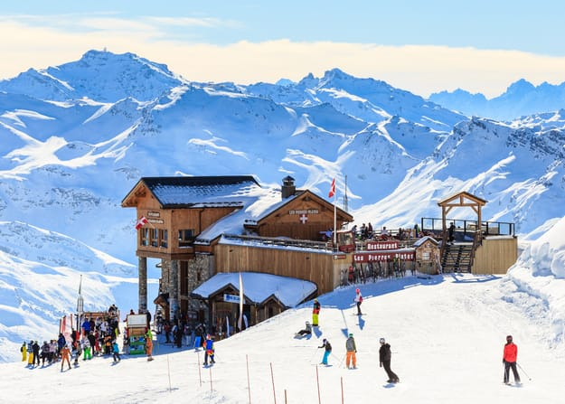 Snow covered Courchevel slope