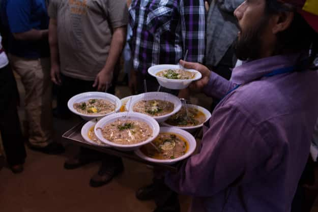 Haleem being served in Hyderabad