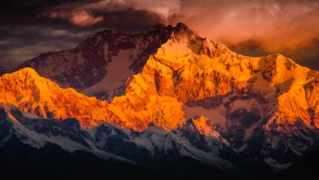 Mountain Kanchenjunga as seen from Tiger Hill, Darjeeling