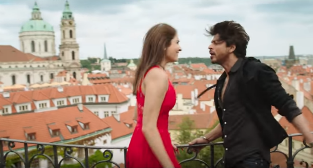Shah Rukh Khan and Anushka Sharma in the song Radha shot in Prague