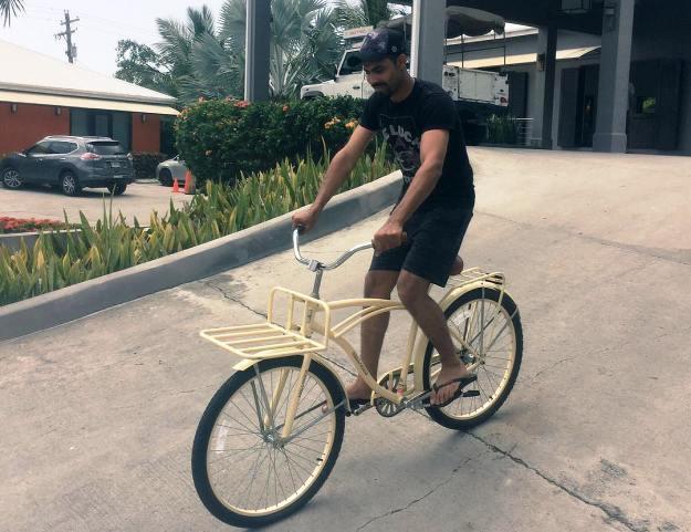Jadeja on a bike