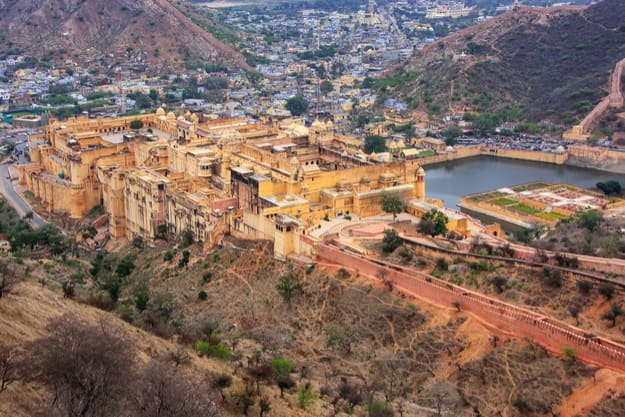 View of Amber Fort from Jaigarh Fort in Jaipur