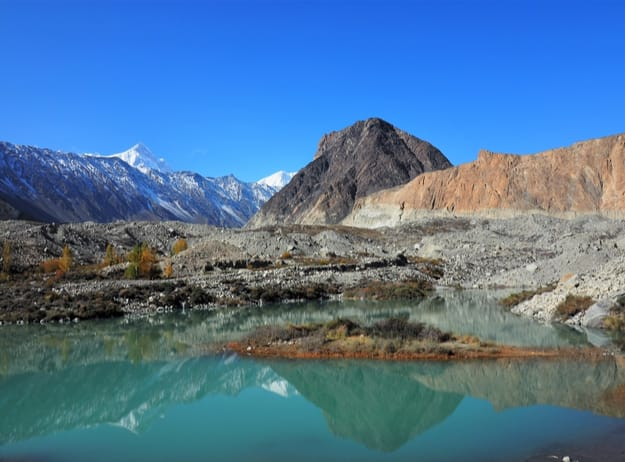 Landscape Reflection Of Batura Glacier, With Lake In Foreground, Gilgit-Baltistan, Northern Pakistan