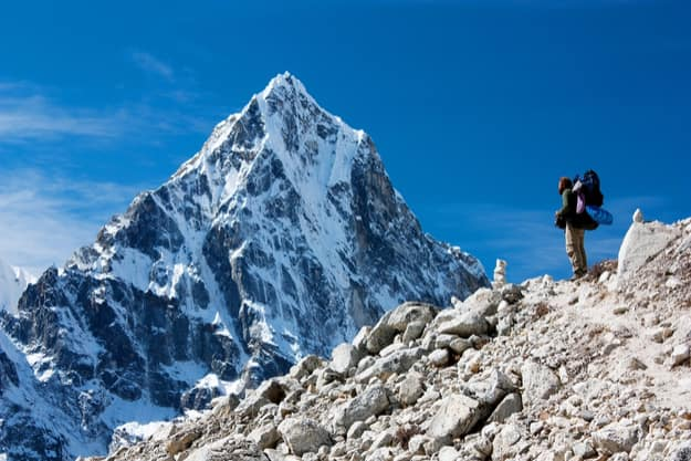 Hiker on mountains on the way to Everest base camp, Nepal