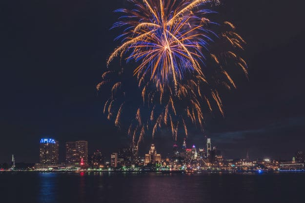 July 4th fireworks display in Philadelphia
