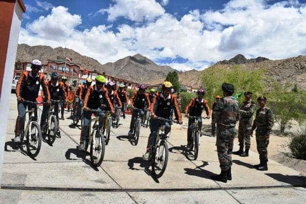 The Himalayan Cycling Expedition flagged off from Leh, Photograph Courtesy: Indian Army Northern Command/Twitter
