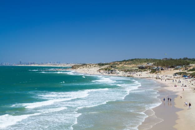 Beautiful views of the Mediterranean Sea and the beach in Palmachim. Israel