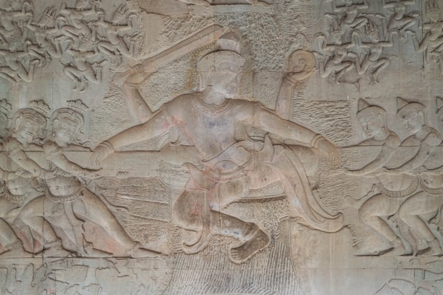 Wall Painting of the Churning of the Milk Ocean (Samudra Manthan) in Angkor Wat, Siem Reap, Cambodia