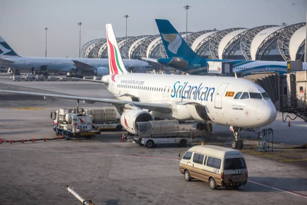 SriLankan Airlines flight in Suvarnabhumi International Airport in Bangkok, Thailand