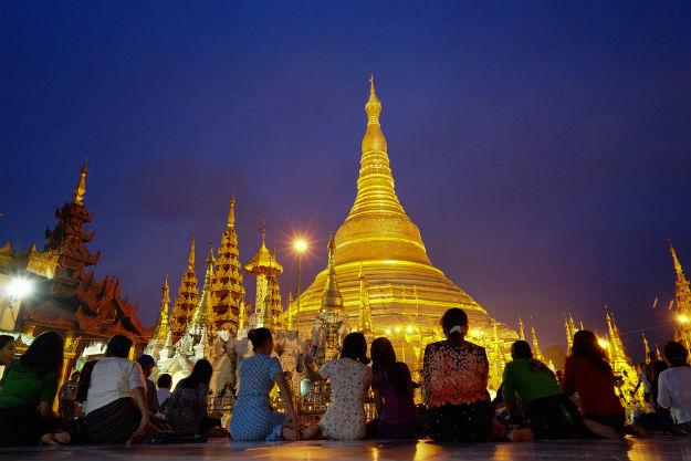 Burma pagoda at night