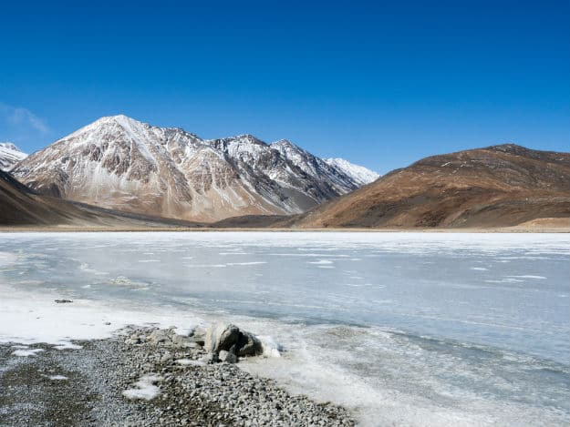 Pangong Tso is frozen completely during winter