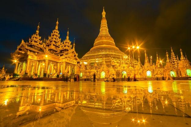 Myanmar pagodas at night