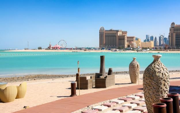 View from Katara Beach in Doha