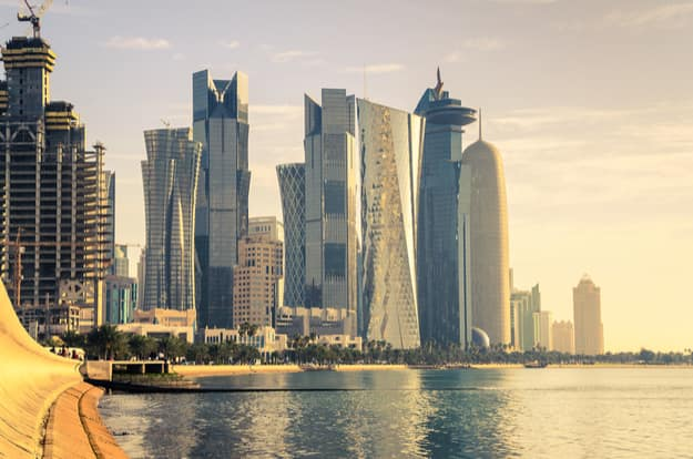 The skyline of Doha in Qatar