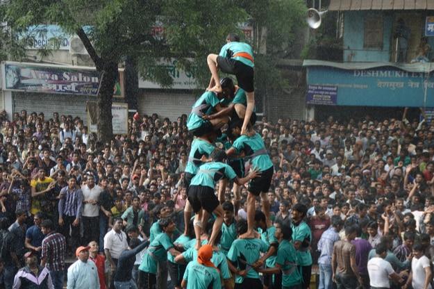 Dahi Handi festival to celebrate God Krishna's Birth in Amravati, Maharashtra