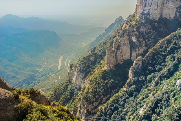 Montserrat's green rocks near the Montserrat abbey, Catalonia, Spain