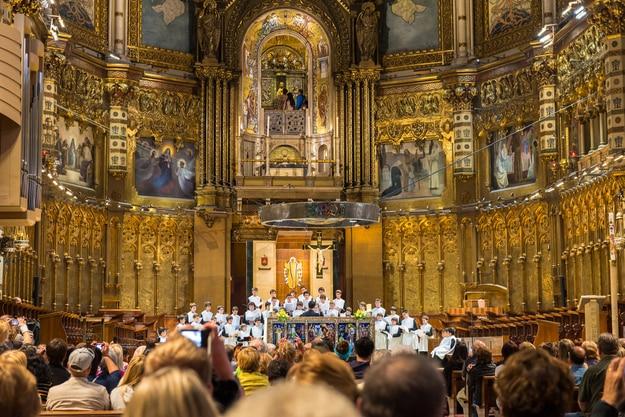 Perfomance of the famous Montserrat Boys Choir in Basilica Benedictine Abbey of Santa Maria de Montserrat in Spain