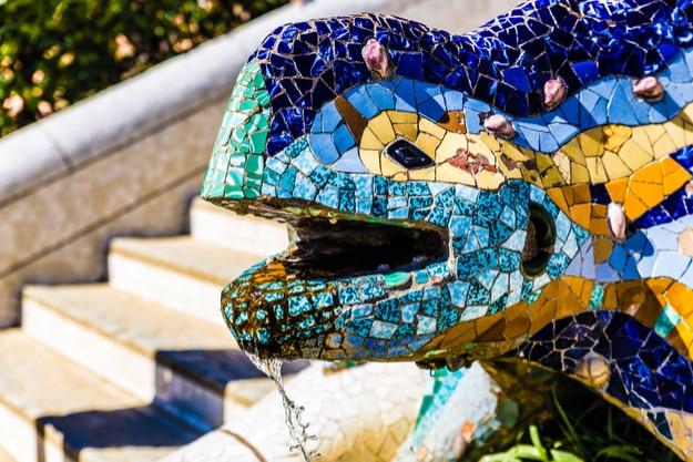 "Head of the multicolored mosaic salamander ""El Drac"""