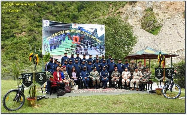 The Indian Armed Forces Tri Services Adventure Expedition flag-off, Photograph courtesy: ADGPI - Indian Army/Facebook