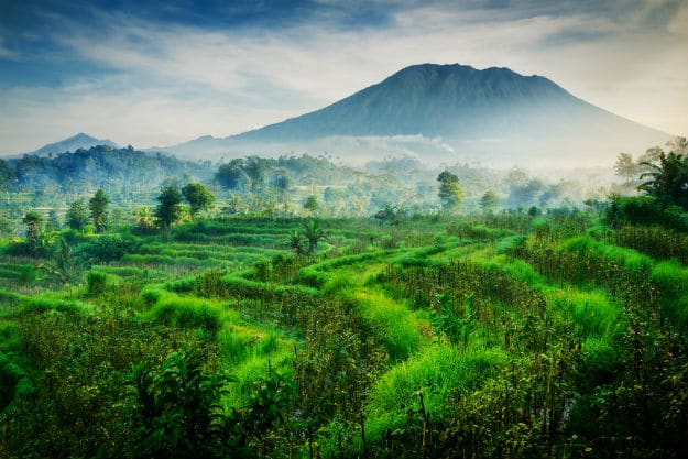 Beautiful morning view of Mount Agung