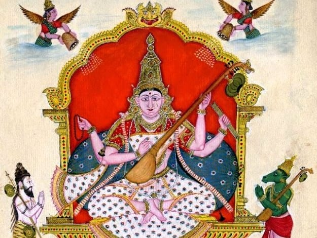 A painting of goddess Saraswati  from the British Museum archive, Photograph Courtesy: Wikimedia Commons