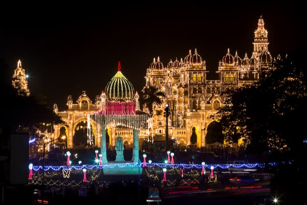 The royal Mysore Palace, India decked up for the festival of Dasara