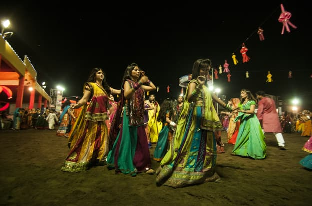 Dancers playing Garba during Navratri in Ahmedabad