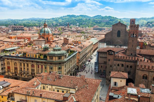 A top view of the old city, Bologna, Italy