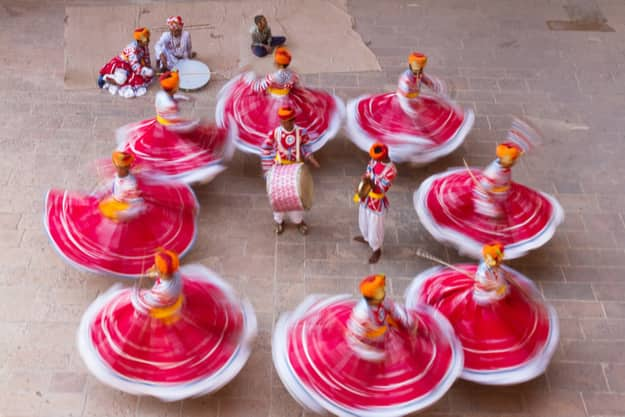 A group of performers were performing in traditional during the Marwar Festival in Jodhpur, Rajasthan