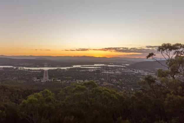 Beautiful sunset at Canberra city view from Mount Ainslie Lookout point