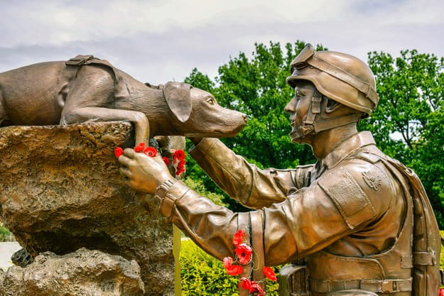 Canberra, Australia - Jan. 25, 2017 Sculpture commemorating the vital role and contribution of Explosive Detection Dogs and their handlers in war