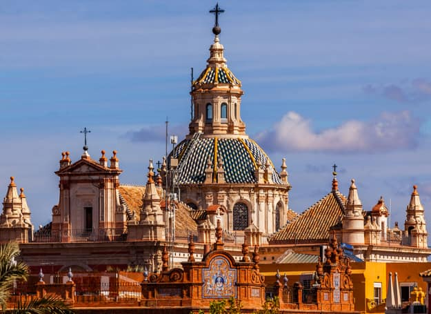 Church of El Salvador, Iglesia de El Salvador, Dome with Cross, Seville Andalusia Spain. Built in the 1700s. Second largest church in Seville