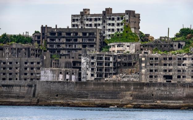 Ghost town on an abandoned island called Gunkanjima and also Hashima near Nagasaki