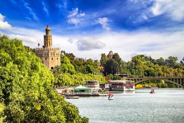 Golden tower (Torre del Oro) along the Guadalquivir river, Seville