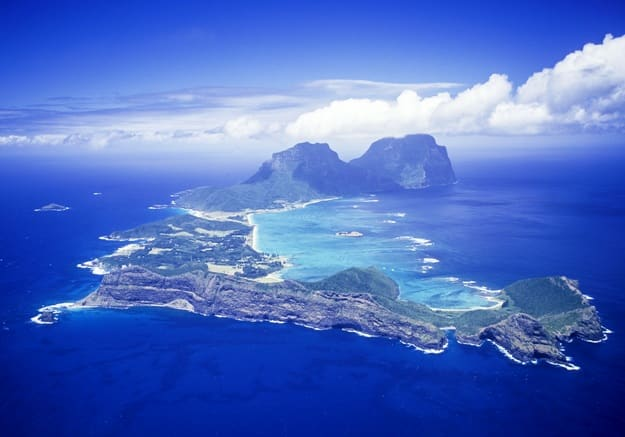 Lord Howe Island aerial the most southerly coral reef in the world
