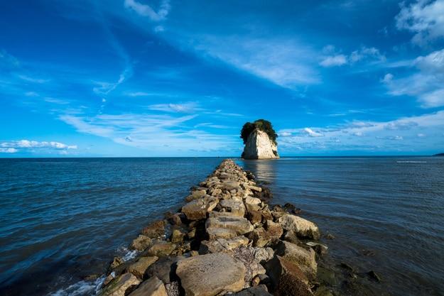 Mitsukejima Island, known as Gunkanjima Island in Ishikawa, Japa