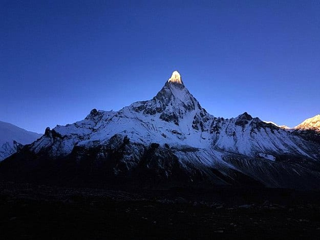 Mount Shivling, as seen from Nandanvan camp site during sunrise, Photograph Courtesy: Wikimedia Commons