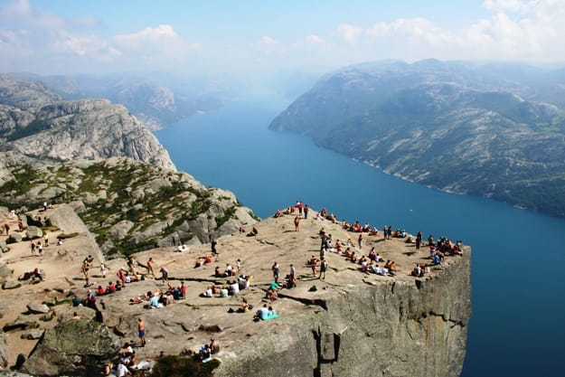 Pulpit Rock at Lysefjorden in Norway. A well known tourist attraction towering 600 meters over sea level