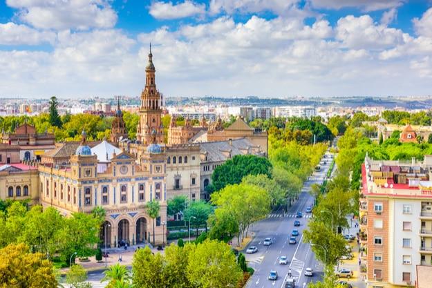 Seville, Spain cityscape with Plaza de Espana buildings