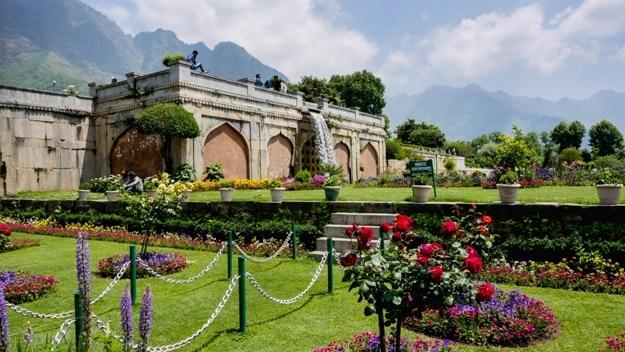Srinagar,Jammu & Kashmir,India May15,2016 Nishat Garden in Srinagar.Destination for travel in Srinagar India