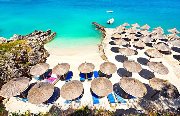 Sunshade umbrellas in Albania