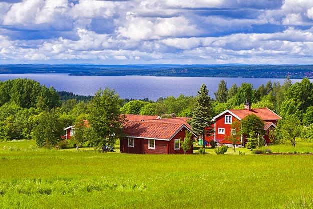 Sweden village wooden houses