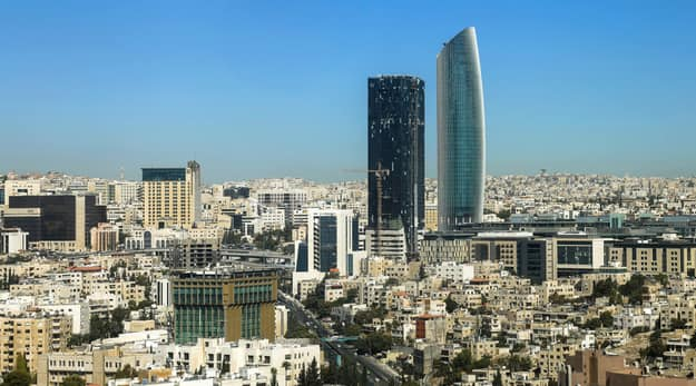 The new downtown of Amman with modern skyscrapers on 29102016 in Amman
